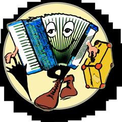 In diesem Cartoon sieht man ein Akkordeon, das auf Weltreise geht. Dies ist das Logo der Artikelfolge des Musikers Peter M. Haas aus Berlin